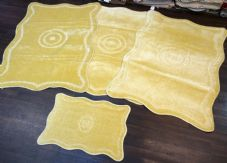 ROMANY GYPSY WASHABLES MATS, SETS OF 4 MATS/RUGS XXLARGE 100X140CM SUMMER LEMON.